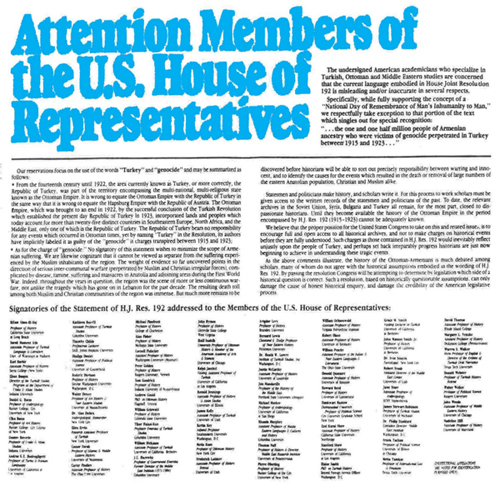 Reproduction of the Statement by American Scholars and Historians Addressed to the U.S. House of Representatives (Published in New York Times on May 19,1985)