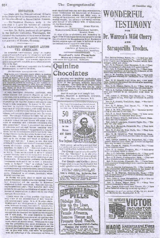 """The reproduction of the letter of American Missionary, Cyrus Hamlin, exposing Armenian terrorist tactics for attracting the attention of the West to so-called """"atrocities against the Christian subjects of the Ottoman Empire"""". The letter was published at the Congregationalist on December 28, 1897."""